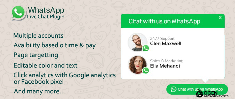 WhatsApp Live Chat Plugin for WordPress - A WhatsApp plugin for your customer support channel.